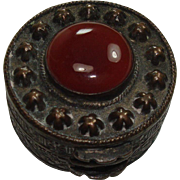 Chinese Bronze Carnelian Pill Box