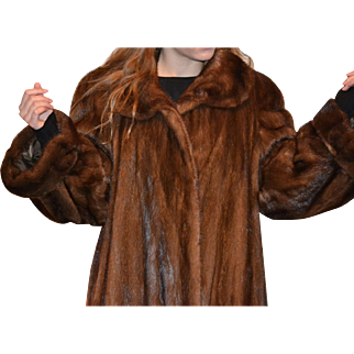 Full length Saga Mink coat in brown color