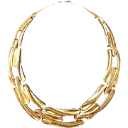 Vintage sterling silver-gold plated handmade necklace from Turkey