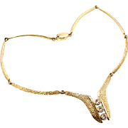 Vintage sterling silver-gold plated necklace with cz from Danmark