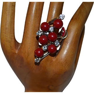 Vintage sterling silver apple sponge coral ring with cz
