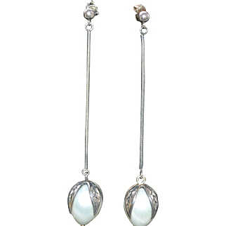 Vintage sterling silver long earrings with faux pearls