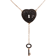 """Sterling silver-gold plated pendant """"heart with key"""" with black topaz"""