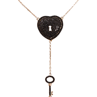 "Sterling silver-gold plated pendant ""heart with key"" with black topaz"