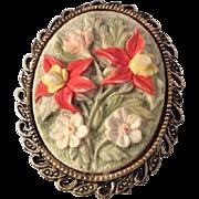 Vintage Three Dimensional Floral Ceramic Cameo Brooch