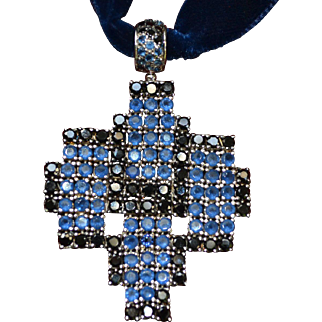 Vintage sterling silver multicolored cz cross pendant