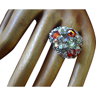 Vintage sterling silver multicolored ring with semi precious stones