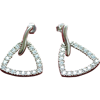 Vintage sterling silver zirconia earrings
