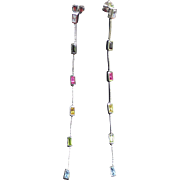 Vintage sterling silver earrings with semi precious stones