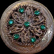 Vintage art deco czech filigree emerald rhinestone brooch/pin