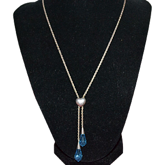Vintage sterling silver necklace with topaz