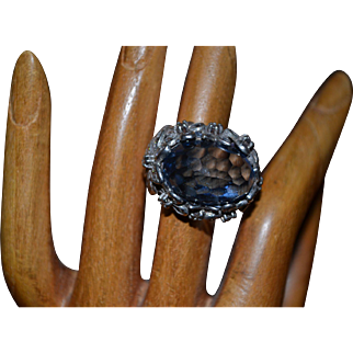 Vintage sterling silver ring with topaz and cz