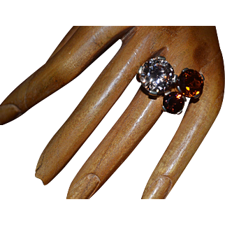Sterling silver-gold plated topaz ring
