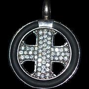 Vintage sterling silver cz cross pendant