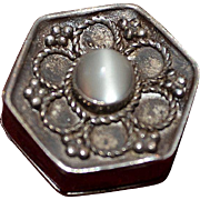 Vintage sterling silver filigree pill box with moonstone