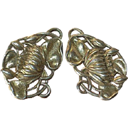 Vintage sterling silver-gold plated clip on earrings flower shaped