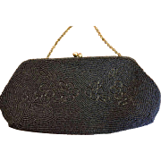 Vintage hand embroidered evening clutch bag from Japan