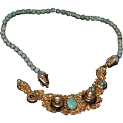 Sterling silver-gold plated handmade Turkish necklace with turquoise
