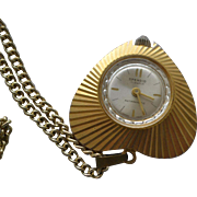 Vintage antimagnetic Swiss made Spendid ladies pendant necklace watch heart shaped
