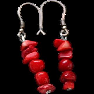 Vintage coral earrings handmade