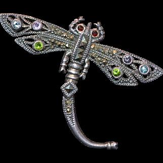 "Vintage sterling silver marcasite brooch ""scorpion"""