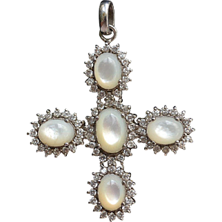 Vintage sterling silver cross with zirconia and mother pearl