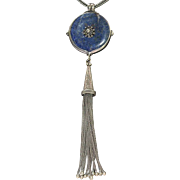 Vintage ethnic sterling silver necklace with lapis and long tassels