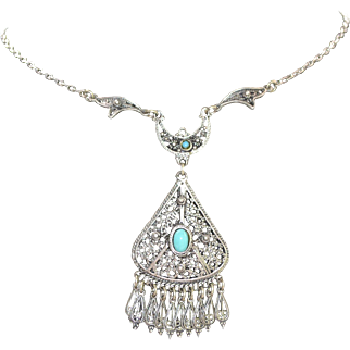 Vintage sterling silver filigree necklace with turquoise