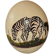 Vintage African ostrich egg hand painted