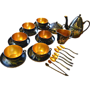 Vintage set of 6 laquerware tea cups with saucers, tea pot, milk jug, sugar bowl,spoons and sugar tong Chinese with gorgeous handpaintings