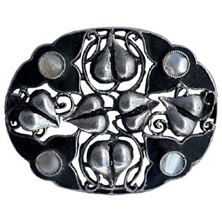 Theodor Fahrner Silver matt black enamel art nouveau