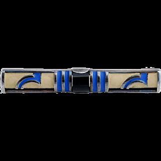 Theodor Fahrner Art Deco Silver Brooch Enamel