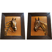 Pair of Lovely Vintage Framed Copper Bronze Horse Plaques