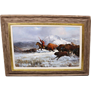 Original Joe Abbrescia (1936-2005) Buffalo Hunt Native American Paiting