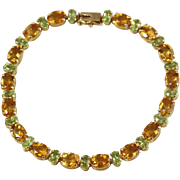 Fine 14k Yellow Gold Peridot and Citrine Tennis Bracelet