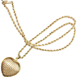 "Fine 18k Multi-Tone Gold Woven Heart Pendant on 18"" 14k Swirl Chain"