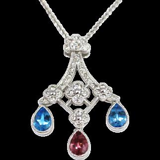 Stunning 14k White Gold Diamond Fluerette Sapphire Droplet Necklace
