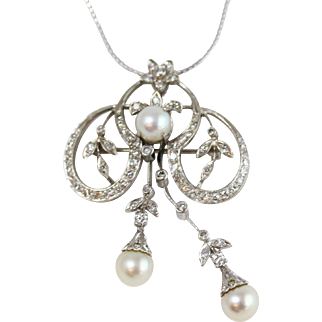 Fine 14k White Gold Diamond and Pearl Convertible Brooch