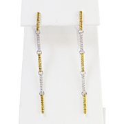Stunning 18k White Gold Diamond and Dyed CZs Drop Earrings
