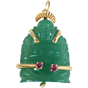Vintage Jade and Ruby 14k Yellow Gold Happy Buddha Pendant