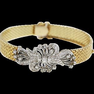 Vintage Fine 14kt Multi-Gold Openwork Ornamented Mesh Bracelet