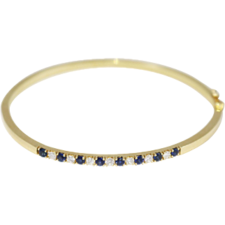 Fine 14k Yellow Gold Bangle with Sapphires and Diamonds