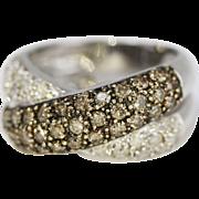 Fine Criss-Cross Band Champagne Diamond w. 14k White Gold