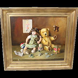Raymond Hoeck (1922-1992) Vintage Still Life Painting of Children's Toys