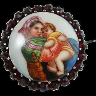 Fine Garnet and Porcelain Hand-Painted Medallion Brooch