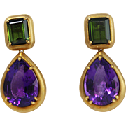 Fine Pair 18k Yellow Gold Amethyst and Tourmaline Drop Earrings