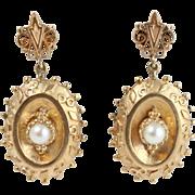 Fine Vintage Matte 14k Yellow Gold Drop Pearl Earrings