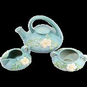 Vintage Roseville Blue Floral Tea Service Set w/ Teapot, Creamer, Sugar
