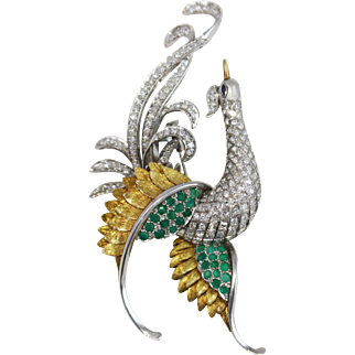 Fine 18k White Gold Peacock Diamond and Chalcedony Brooch