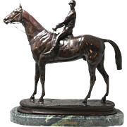 Alfred Barye Horse w/ Jockey Gladiateur Bronze Sculpture w/ Marble Base